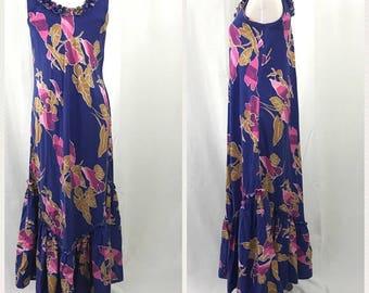 Vintage Hilo Hattie's Hawaiian Pink and Purple Maxi Aloha Dress S
