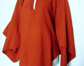 1950s little RED riding hood WOOL CAPE, poncho shawl with collar, warm blanket wrap, osfa