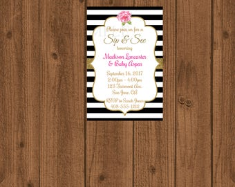 Black and White Striped Sip & See, Sip and See Invitation, Baby Shower Invitation, Baby Shower, Sip and See, Floral Sip and See