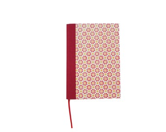 A5 Blank Book, red orange stampflower, diary, giftidea for writers, sketchbook, hardbound notebook