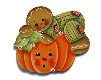 Ginger and Pumpkin Fridge Magnet or Ornament, Handpainted Wood Gingerbread Refrigerator Magnet, Hand Painted Fall Autumn, Tole Painting