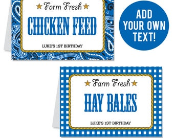 INSTANT DOWNLOAD Country Western Party Buffet Cards (Blue) - EDITABLE Printable File