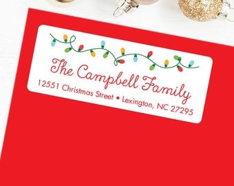 Christmas Address Labels - Christmas Lights - Sheet of 30