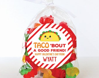 Valentine's Day Stickers - TACO 'bout a Good Friend - Sheet of 12 or 24