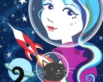 A4 Space Cat Print - Space Girl Print - Space Art - Cat Illustration - Cat Art - Space Illustration - Space Cat - Cat Gift