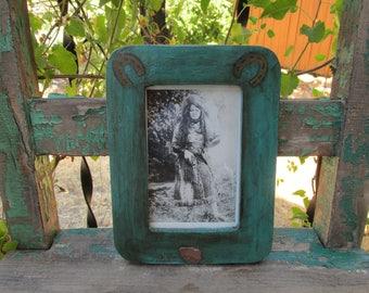 "Cute Vintage Hand Painted Southwest Framed w/Arrowhead Vintage Black & White Post Card of ""Squirrel Girl"" Holding Gun w/Western Attire ~"