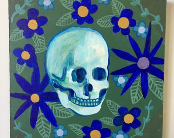 Original Acrylic Painting Of A Skull With Blue Flowers / Swamp Skull