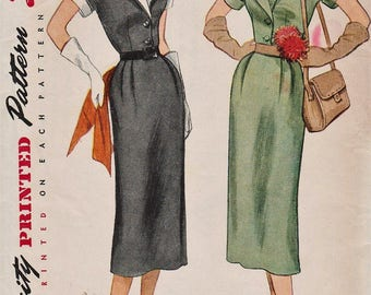 Simplicity 3478 / Vintage 50s Sewing Pattern / Dress / Size 16 Bust 34