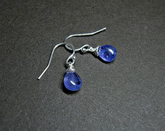Tanzanite earrings, December birthstone, certified tanzanite silver earrings, PETITE drop earrings, sterling silver gemstone dangle earrings