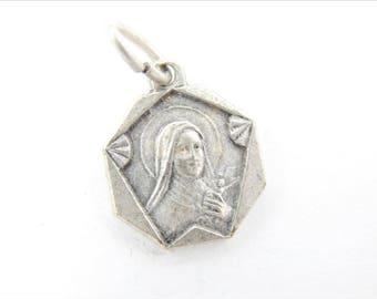 Vintage Saint Therese Catholic Medal - Miraculous Medal - Religious Charms - Catholic Supplies - Catholic Jewelry - 041