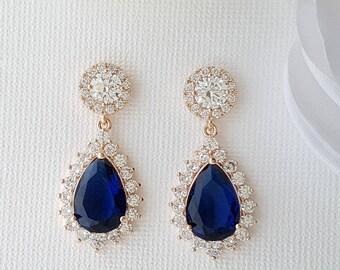 Rose Gold Earrings, Wedding Earrings, Blue Bridal Earrings, Crystal Earrings, Something Blue, Teardrop Earrings, Bridal Jewelry, Aoi