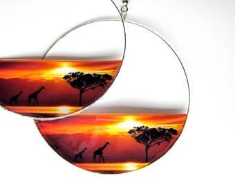 African Sunset Giraffe Earrings, Silver Hoop or Drop, Ear wire Closure