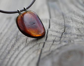 Rustic Amber Pendant Necklace Baltic Charm Jewelry Unisex Yellow Orange Honey Brown Leather