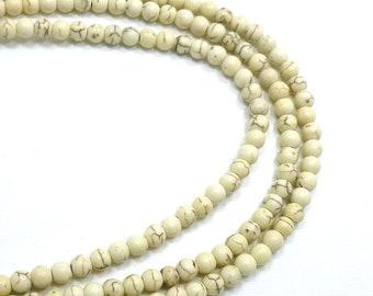6mm White Magnesite Semi Precious Round Beads, Full Strand