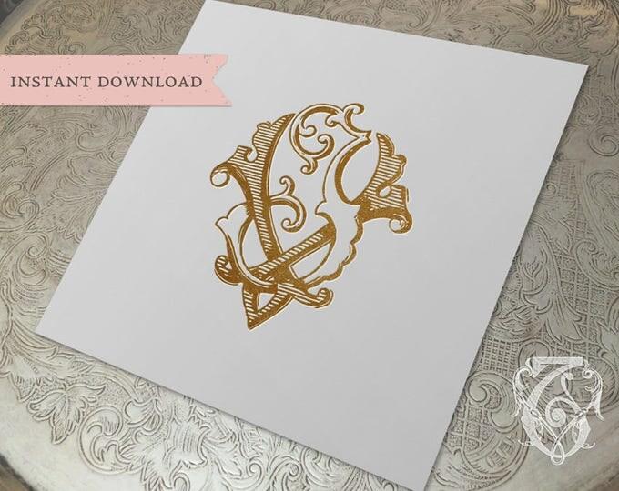 Vintage Wedding Monogram VJ JV Digital Download V J