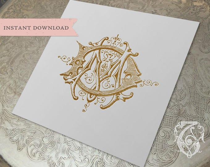 Vintage Wedding Monogram MD DM Digital Download M D