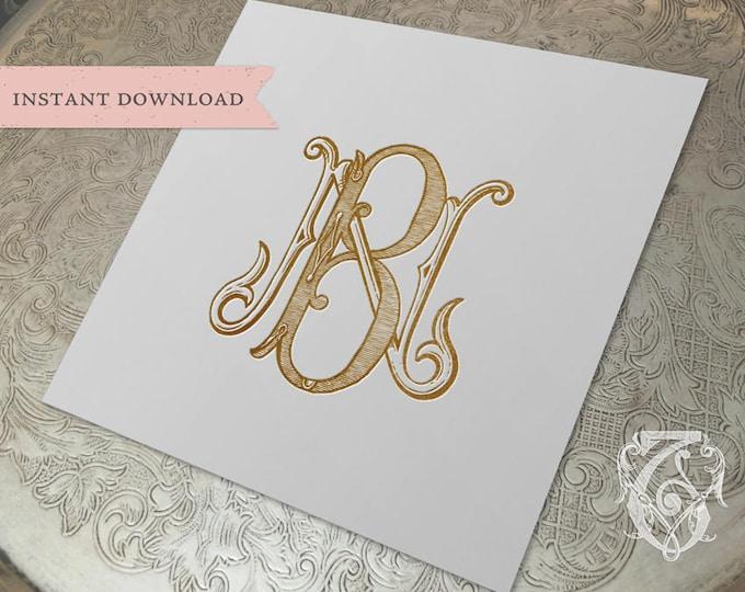 Vintage Wedding Monogram NB BN Digital Download B N