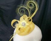 Primrose Lemon Yellow Curl Feather Sinamay  Crystal Isadora Wedding Fascinator Mini Hat  Custom Made to Order