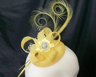 Primrose Lemon Yellow Curl Feather Sinamay & Crystal Isadora Wedding Fascinator Mini Hat - Custom Made to Order