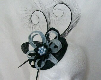 Black and Pale Blue Pheasant Curl Feather Sinamay Loop & Pearl Fascinator Mini Hat - Made To Order