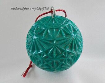 Golf Gift for Golfer, Carved Golf Ball Ornament, Golf Ball Art, Jade Green Christmas Ornament