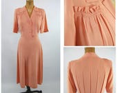 RESERVED for Emelie 1940s Pink Rayon Crepe Day Dress - 40s Military Style Pleated Back - Smocked Shirtwaist - Dusty Rose Pink Early 40s WWII