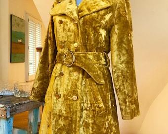 60s Gold Crushed Velvet Coat Double Breasted Super Fly Funkadelic Haight Ashbury Hippie Soul Train Style