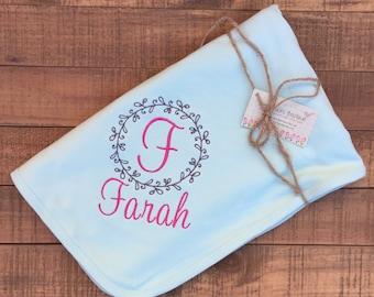 Personalized Baby Blanket - Baby Blanket - Newborn Girl Baby Blanket - Monogram Baby Blanket - Baby Hat - Newborn Hat