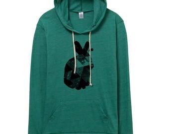 hoodie - rabbit pattern- geometric -  urban heather - rabbits - bunny - teal- lightweight hoodie - hoodies - graphic hoodie - womens