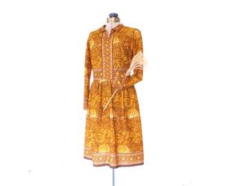 60s Day Dress * 1960s Dress * Cotton Shift Dress * Sunrise  Print * Medium / Large