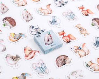 45 PCS, Woodland Animal sticker, Rabbit sticker, Squirrel sticker, Hedgehog sticker, Animal sticker, Bird sticker, Lifelog 79