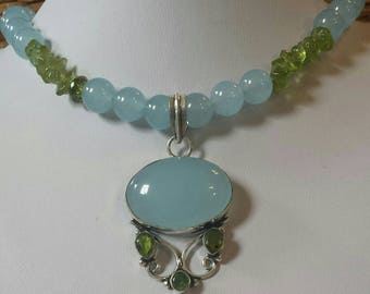 Gorgeous blue and green Natural Stone beaded necklace with sterling silver pendant