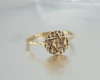 Gold Star of David signet ring, Star of David Ring, Gold-filled Ring, Magen David Ring, Jewish Star Ring, Judaica Ring,  Jewish star ring
