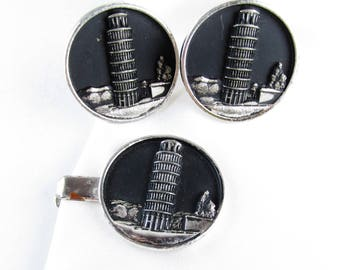 Vintage Tower of Pisa Cuff Link Set with Tie Bar, Hickok USA