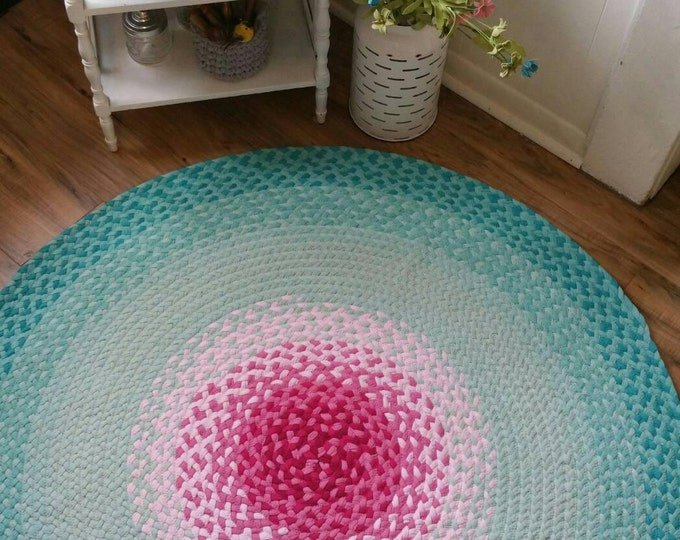 "50""  ready to ship Pink and misty mint braided rug aqua"
