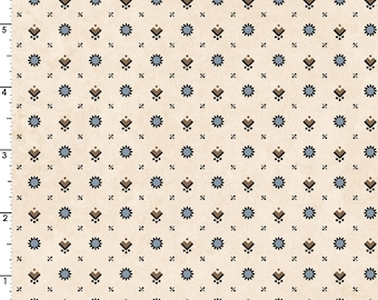 Blue and Brown Shirting Print on Cream 100% Cotton Quilt Blender Fabric, Maywood Studio's Hold 'Em or Fold 'Em Collection, MAS8387-EB