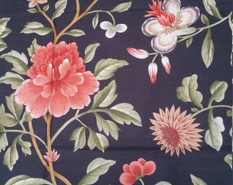 Clarence House Designer Vintage Hand Screened Japanese Peony Floral Fabric on Black Egyptian Cotton Ground
