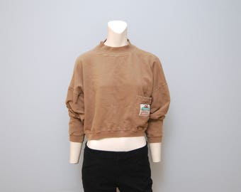Vintage Light Brown Mock Turtleneck Long Sleeved Crop Top Sweatshirt by Ivy Laundry - Size Medium with Upside Down Patch on Pocket