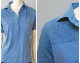 1970's Vintage Cornflower Blue Women's Polo Style Golf Shirt with Mesh Shoulders and Sleeves by Leon Levin Size Medium
