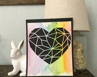 GEOMETRIC rainbow watercolored nursery art Poster, Faceted Heart Collage, Modern Bedroom Decor