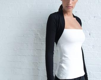 NEW Black Bolero / Long Sleeve Shrug / Fitted Bolero / Black Shrug / Jersey Sweater / Black Jersey Cardigan / Marcellamoda - MC0946