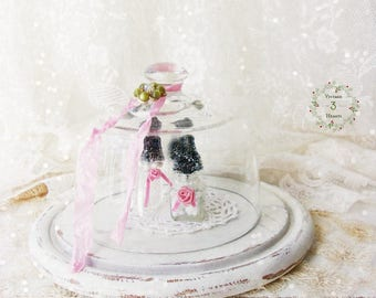 Christmas Cloche Decor. Miniature bottle brush tree salt shakers. Shabby Cottage Chic. Pink Shabby Chic. Vintage Dome Chloche