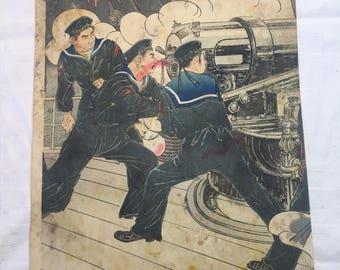 Ukiyo-e painter Migita Toshihide Russo Japanese War Triptych center panel only