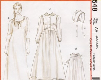 Pick Your Size - McCall's Historical Costume Pattern M4548 - Misses' Early American Costume - Dress, Chemise, Pantaloons, Apron and Bonnet