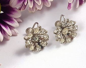 Vintage Ice Starburst Screw Back Earrings by Bugbee & Niles