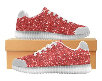 Red Glitter LED Light Up Shoes | Kids & Womens Sizes | High Stretch Upper | EVA Mesh Fabric Insole | 7 Colors | Bold Street Artist Design
