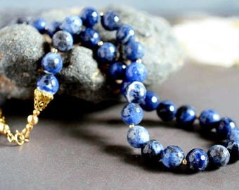 Blue Sodalite Necklace Gold Filled Dark Blue Necklace Gold & Blue Statement Boho Lapis Necklace Navy Stone Beaded Faceted Gemstone Necklace