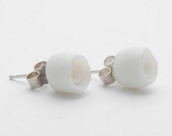 Simple White Flowers Ceramic Stud Earrings, Porcelain Earrings, Ceramic Jewellery, Porcelain Jewellery, Post Earrings Small, Stocking F
