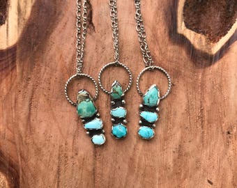 Turquoise Pendant, Multi-stone necklace, Turquoise Necklace, Bohemian Jewelry, Sterling Silver Necklace, Silver Pendant, Holiday Jewelry,