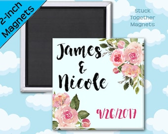 Wedding Favor Magnets - English Roses - 2 Inch Square Magnets - Set of 10